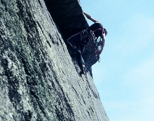Climing on the Springbank route on Gimmer in the Lake District