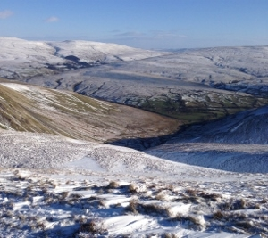 Looking down over Cautley Spout to the Cross keys Inn (300x267)
